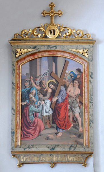 Station of the cross 6 , Veronica wipes the face of Jesus, in the Saint Antony church in St. Ulrich