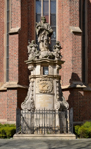Statue of John of Nepomuk near Saint Matthew church in Wrocław (Breslau)