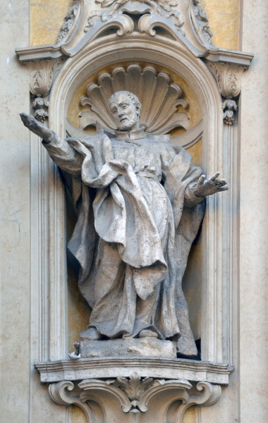 Statue of S. Philip Neri in facade of church Santa Maria Maddalena