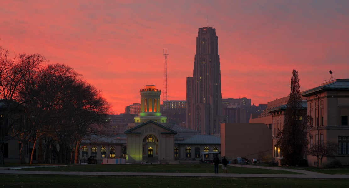 Sunset over Hammerschlag Hall and the Cathedral of Learning 2 HDR