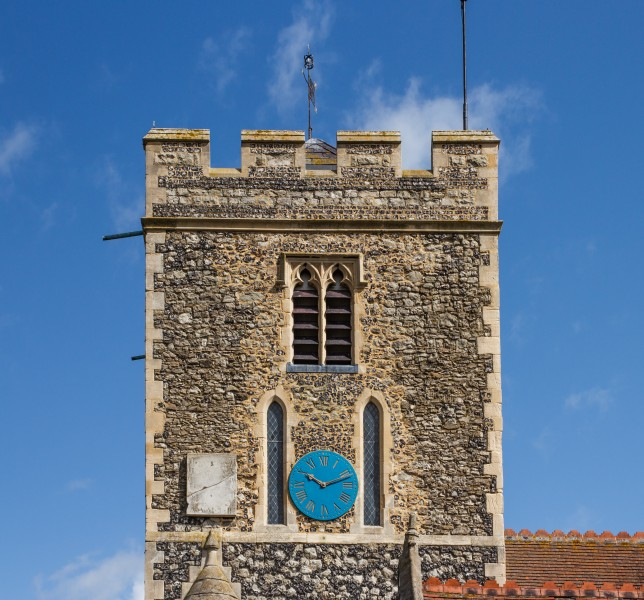 Tower, South Facade, St Helens Church, Cliffe, Kent, England, 2015-05-06-5140