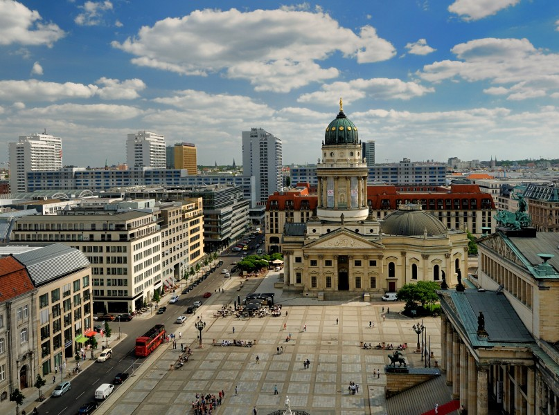 View of the Gendarmenmarkt and Deutscher Dom (German Cathedral) from the Top of Französischer Dom (French Cathedral)