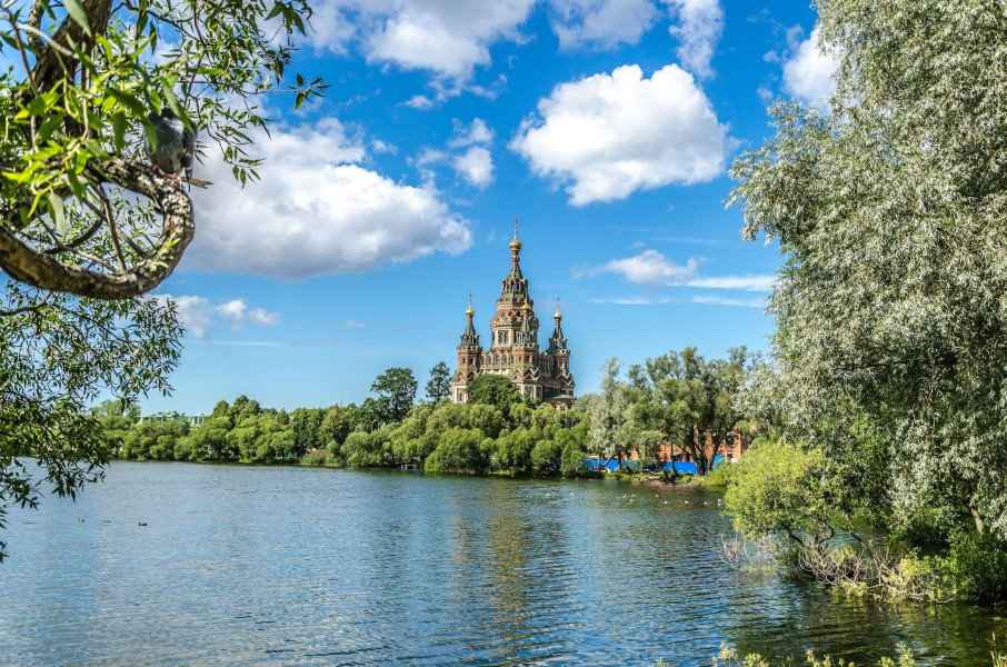 View to Saints Peter and Paul Cathedral in Peterhof 02