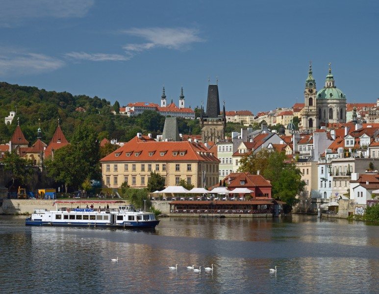 Vltava River, Church of Saint Nicholas at Malá Strana, Malá Strana Bridge Tower, Basilica of the Assumption in the Strahov Monastery. Prague, Czech Republic