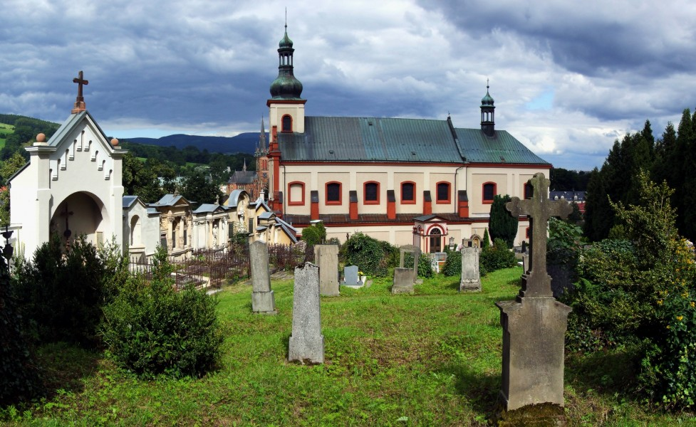 Vrchlabí (Hohenelbe) - church of St. Augustin (view from cemetery)