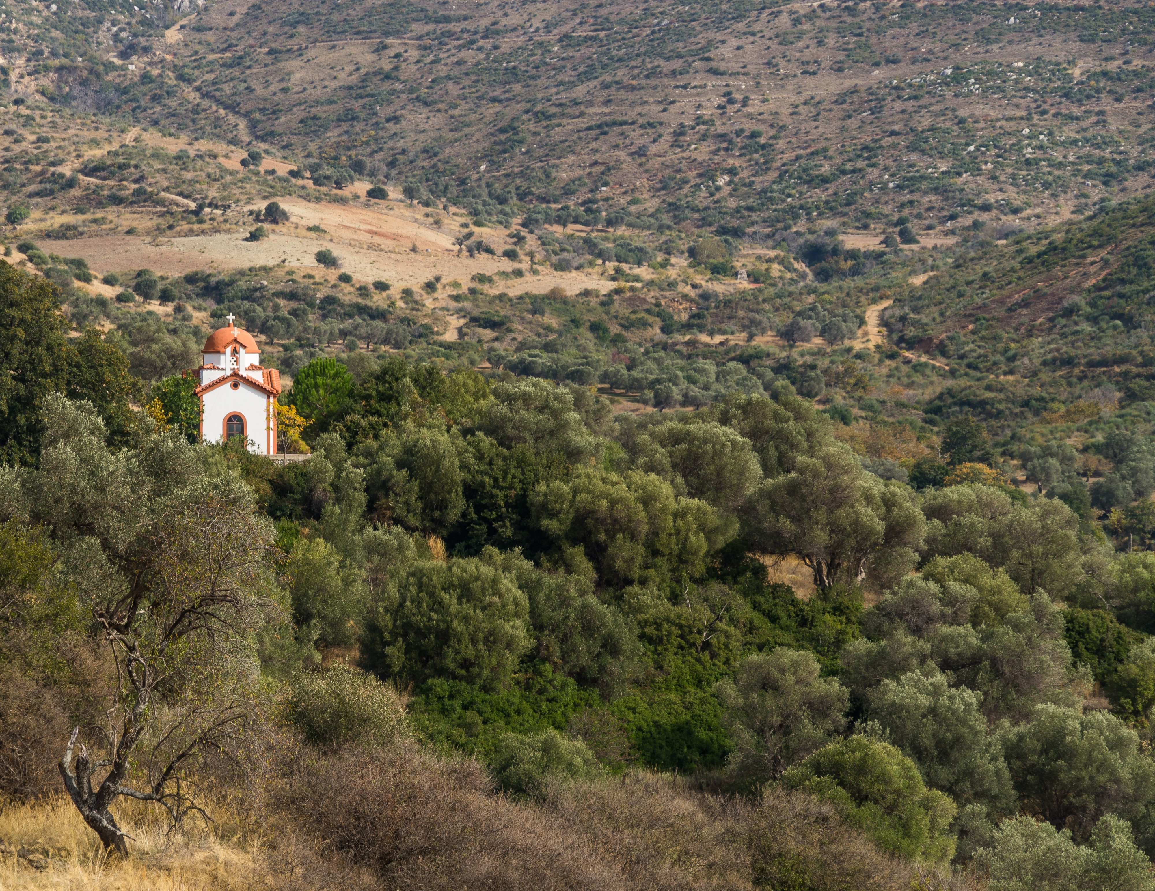 Chapel seen from Avlonari Euboea Greece