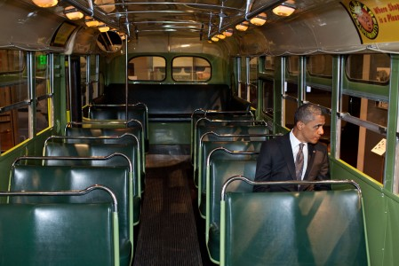 Barack Obama in the Rosa Parks bus