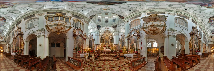 St Peter Salzburg panoramic view of interior small