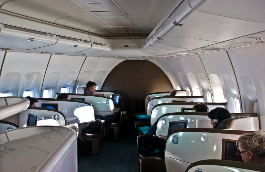 Air New Zealand Business Premier 747 cabin En route London to Hong Kong