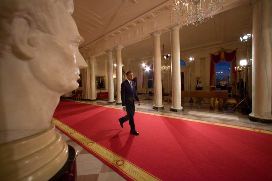 Barack Obama crossing the Cross Hall