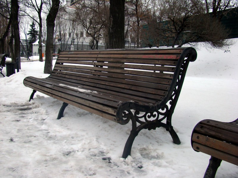 Bench in Moscow park. Dec 26, 2008