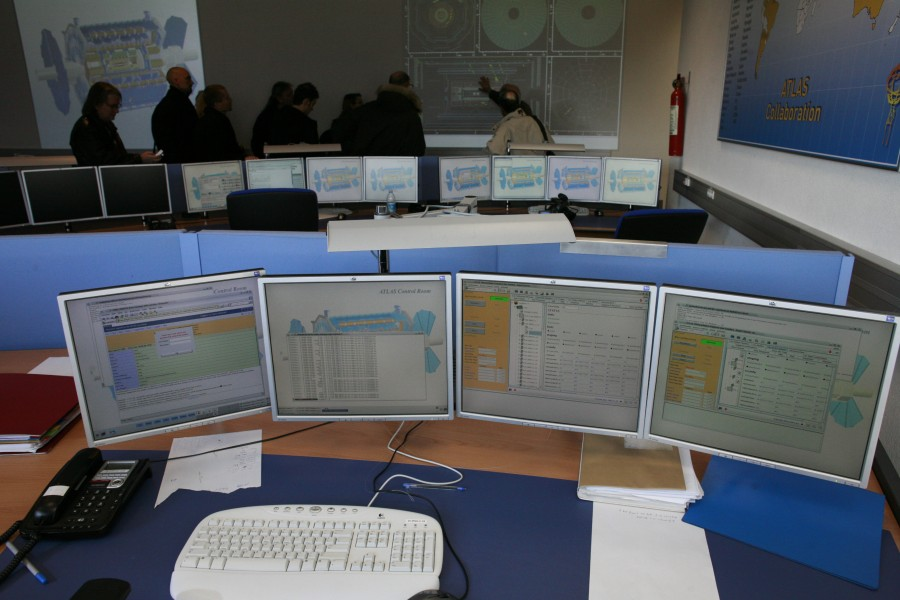 CERN control room computer monitors