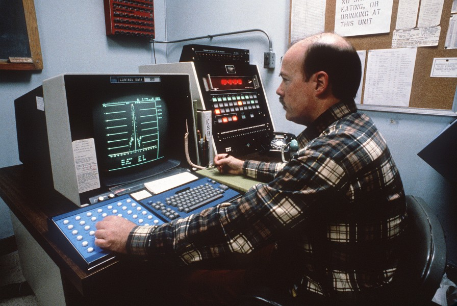 Cobra Dane radar system operation status control console room