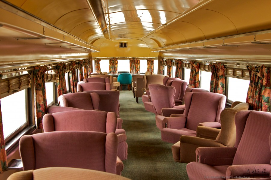 Interior of Juno observation car at Illinois Railway Museum