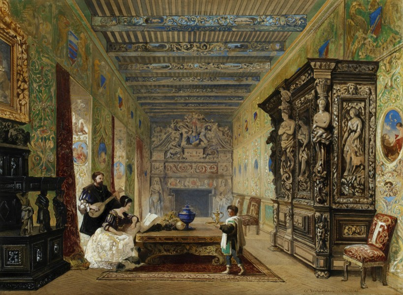 William James Müller The Drawing Room at Fontainebleau