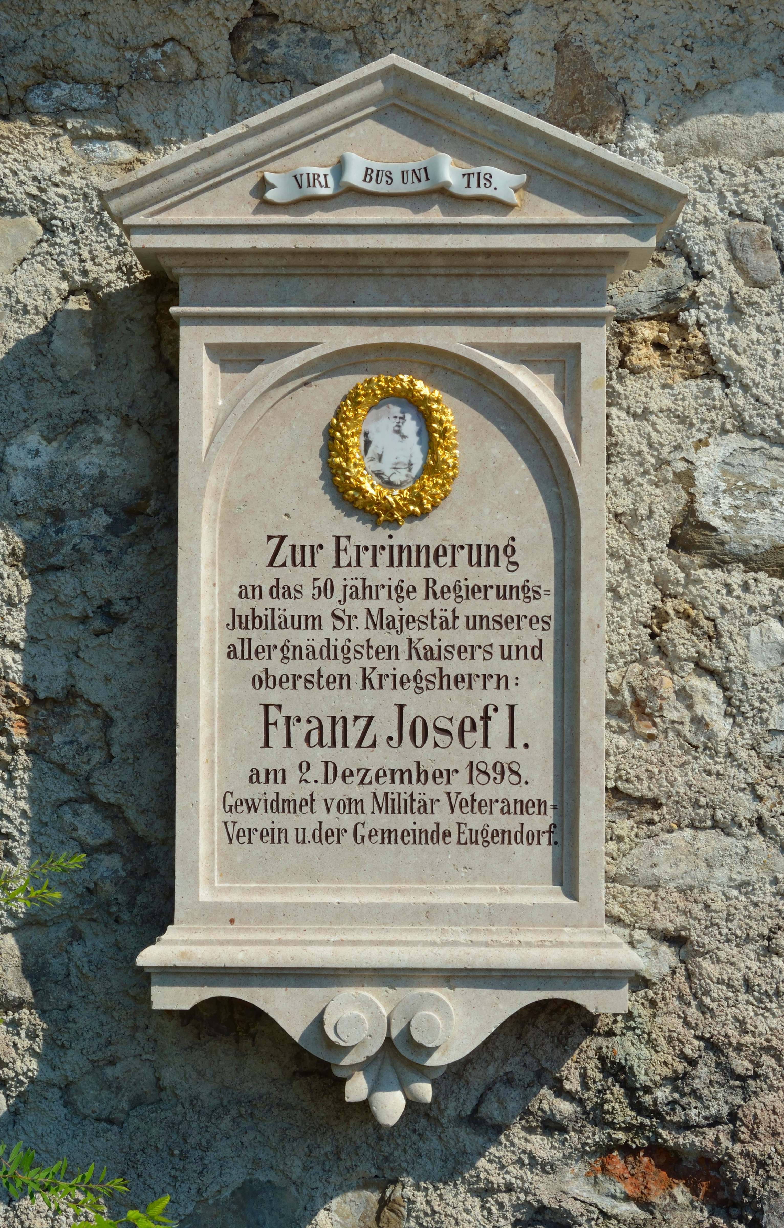 1898 memorial plaque to Franz Josef I