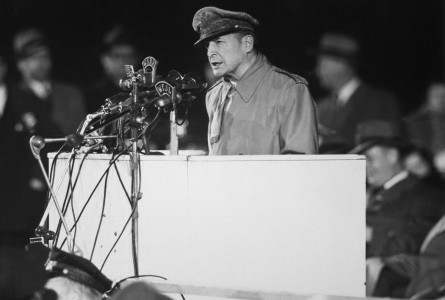 Douglas MacArthur speaking at Soldier Field HD-SN-99-03036