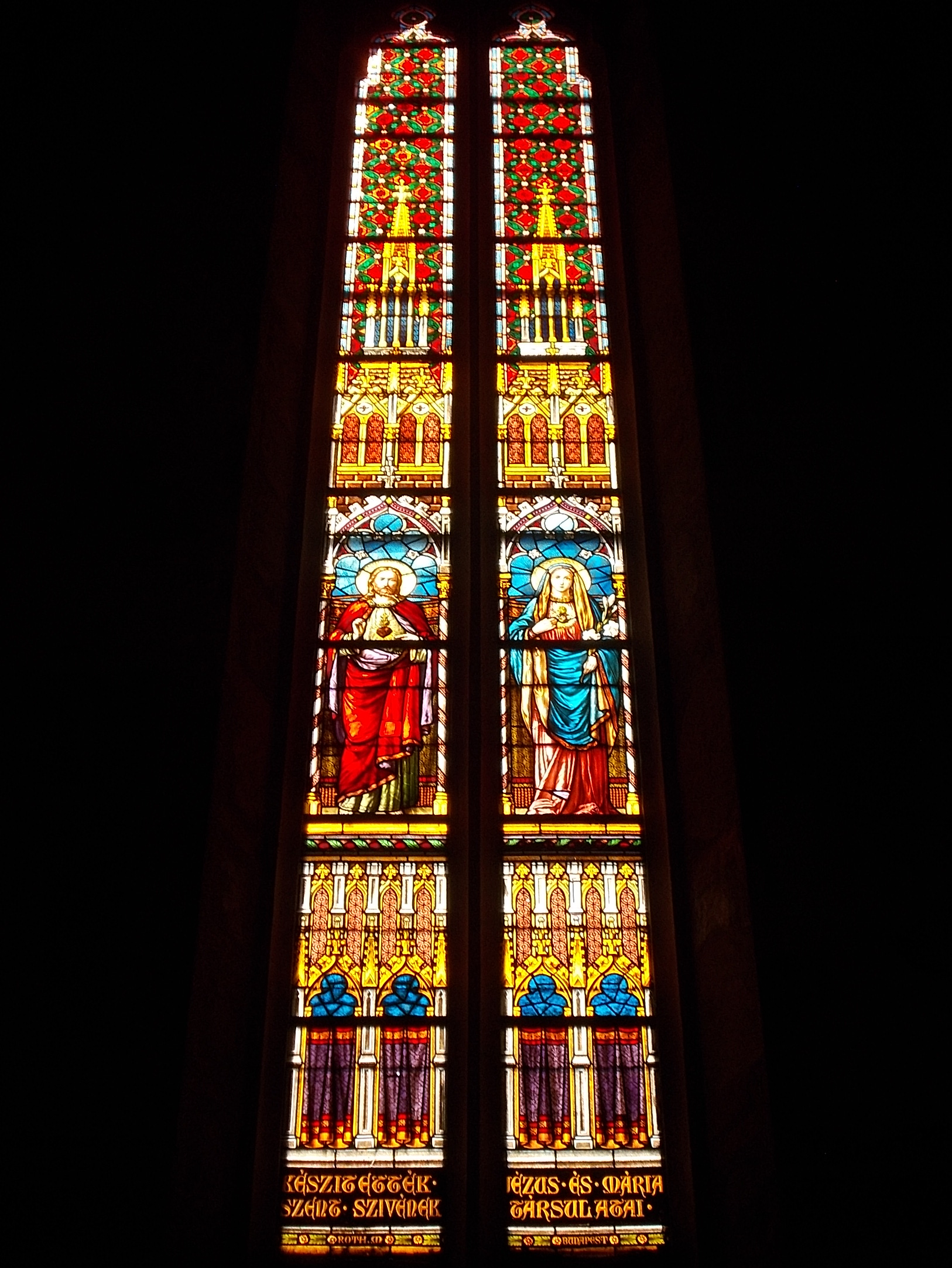 Franciscan church, Sacred Heart of Jesus and Virgin Mary on stained glass by Miksa Róth (1896), Keszthely 2016 Hungary