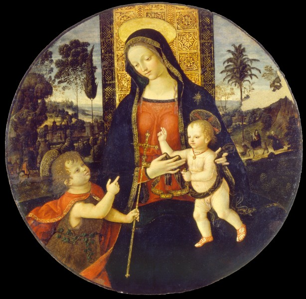Bernardino di Betto called Il Pinturicchio and workshop - The Virgin and Child with the Infant Saint John the Baptist - Google Art Project