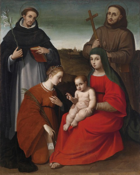 Biagio Pupini (attr) Madonna and Child with saints