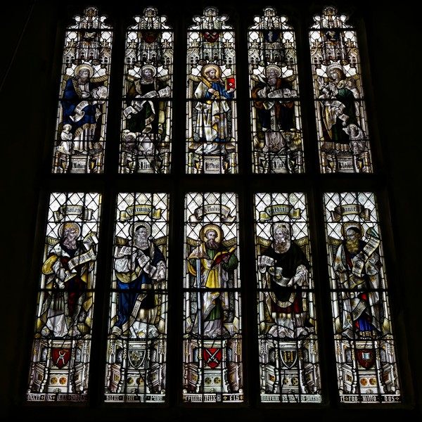 Castle Hedingham, St Nicholas' Church, Essex England, stained glass, saints and apostles, tower west window