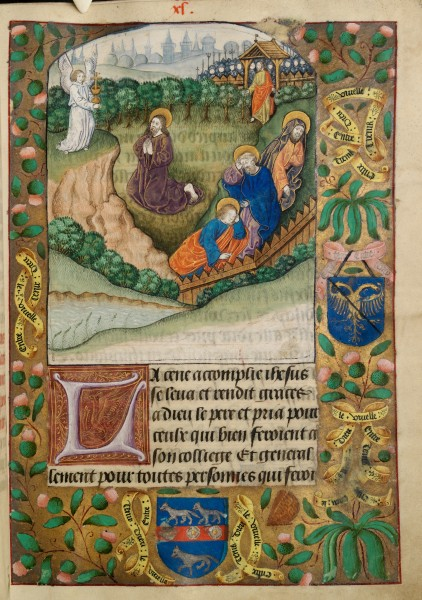 "Christ praying in the garden of Gethsemane. Two shields of unidentified arms in borders, with motto ""Entre tenir Dieu le viuelle"" (f. 40)"