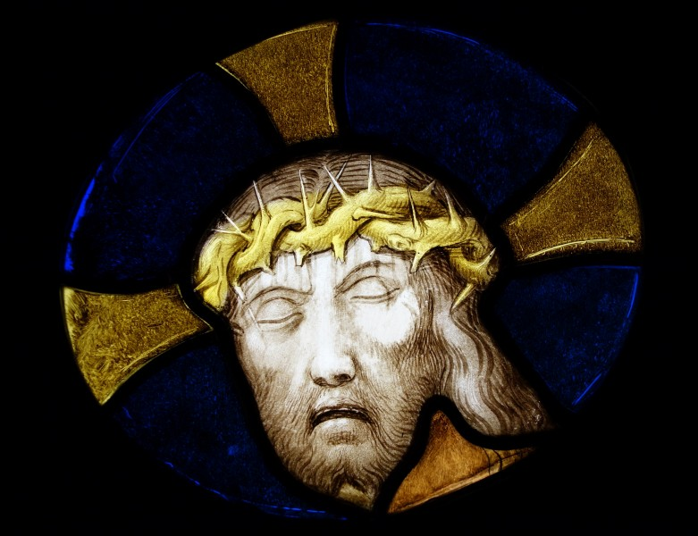 Christ's Head with Crown of Thorns, Leuven, c. 1525, stained glass - Museum M - Leuven, Belgium - DSC05023