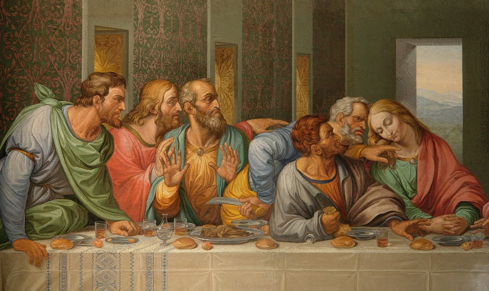 Detail of the Da Vinci's The Last Supper by Giacomo Raffaelli, Vienna