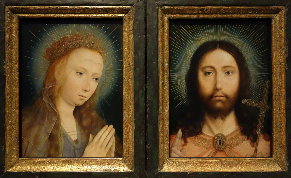 Diptych with Christ as Salvator Mundi and Mary Praying, by Quinten Massijs I, date unknown - Museum M - Leuven, Belgium - DSC05218