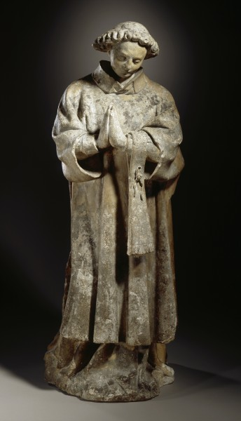 Ecclesiastical Figure in Prayer - French sculpture 1400-1420