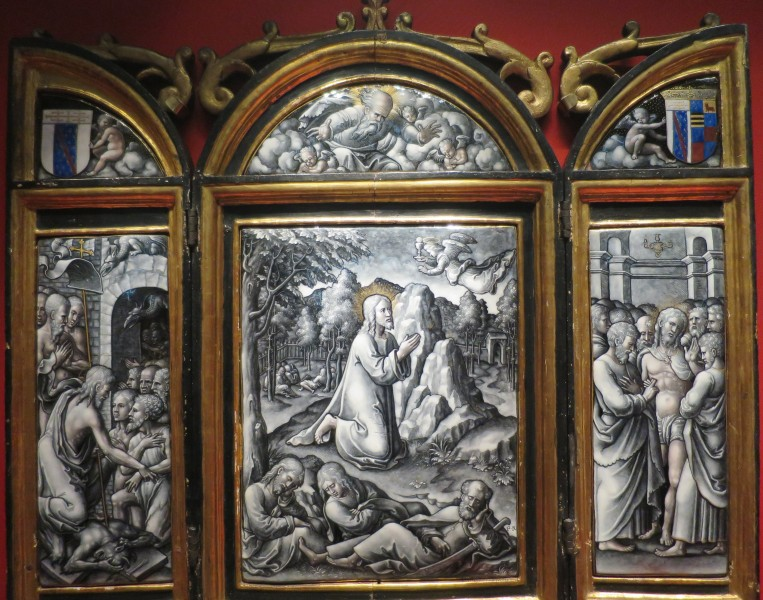 Enamel triptych with Agony in the Garden, Harrowing of Hell, and Incredulity of Thomas by Pierre Reymond