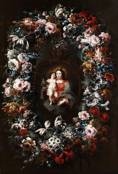 Jean Baptiste Morel - Virgin and Child in a Flower Garland