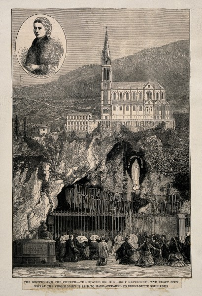 Lourdes, Haute Pyrénées, France; pilgrims praying in front o Wellcome V0012868