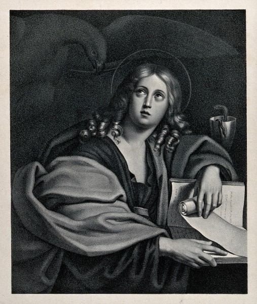 Saint John the Evangelist. Lithograph by J.G. Schreiner. Wellcome V0033500