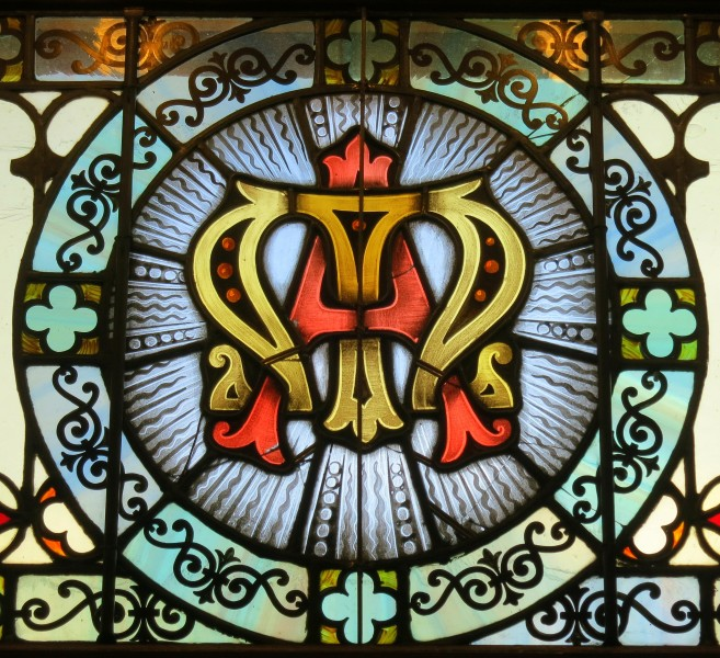Saint Mary Catholic Church (Dayton, Ohio) - stained glass, Marian monogram