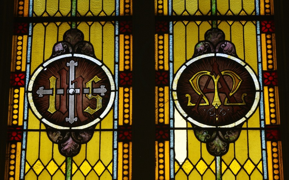 Saint Mary Catholic Church (Philothea, Ohio) - stained glass, Holy Name and Marian monogram