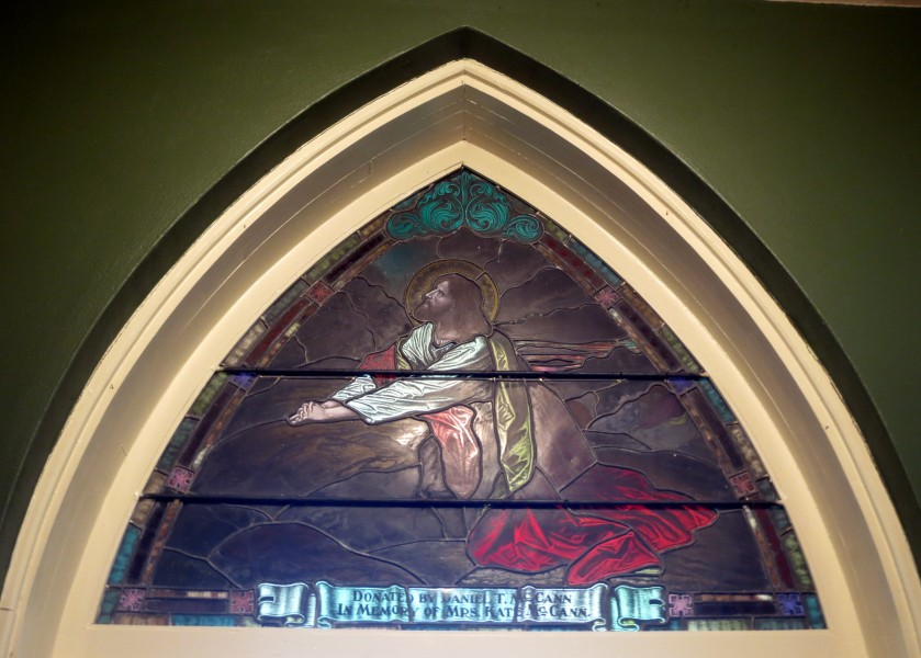 Saint Patrick Catholic Church (Junction City, Ohio) - stained glass, tympanum - The Agony in the Garden