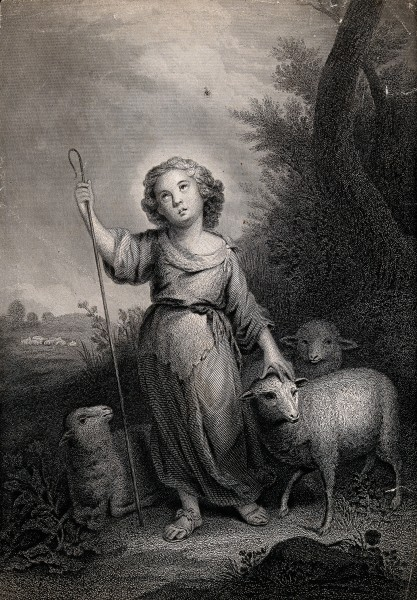 The Christ Child as the Good Shepherd. Engraving after B.E. Wellcome V0034045