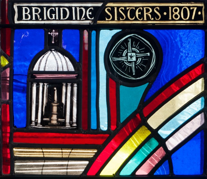 Tullow Church of the Most Holy Rosary North Transept Window Bishop Daniel Delany Detail Brigidine Sisters Pavilion and Brigid's Cross 2013 09 06