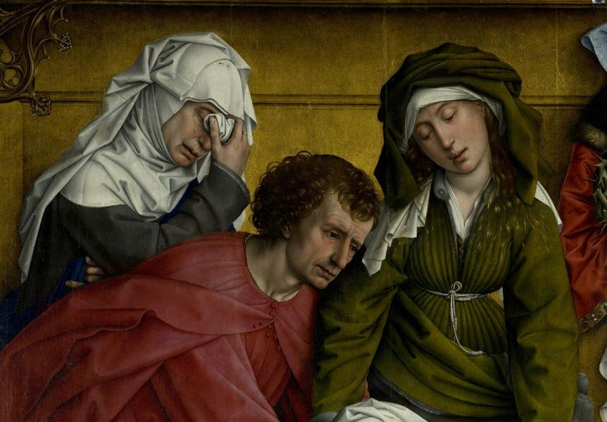 Weyden, Rogier van der - Descent from the Cross - Detail Mary of Clopas, Saint John the Evangelist and Mary Salome