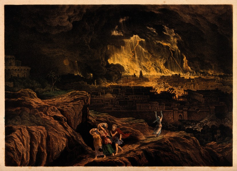 Lot and his family flee Sodom as it burns; Lot's wife faces Wellcome V0034238