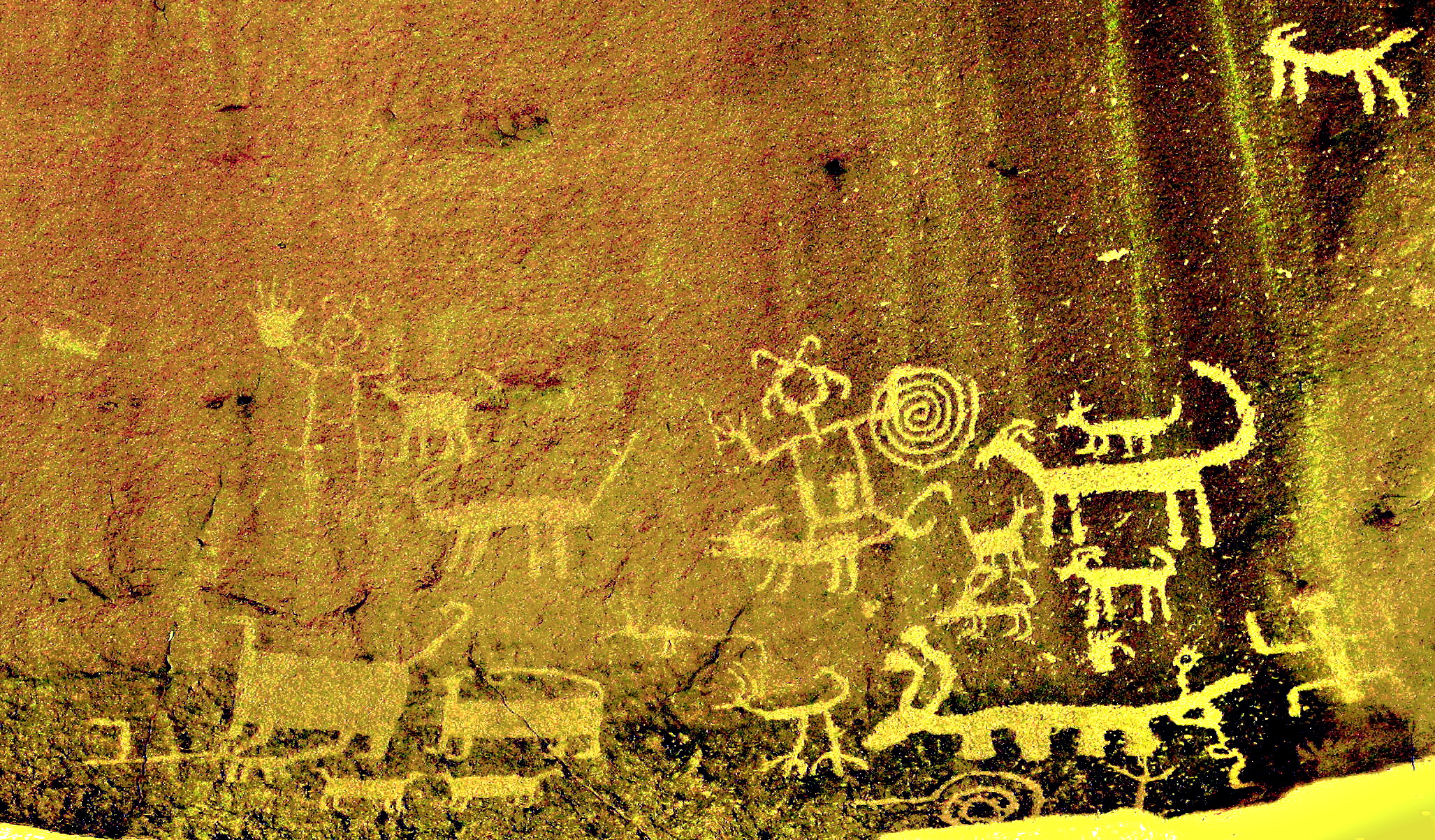 Una Vida Chaco Canyon rock art enhanced 2