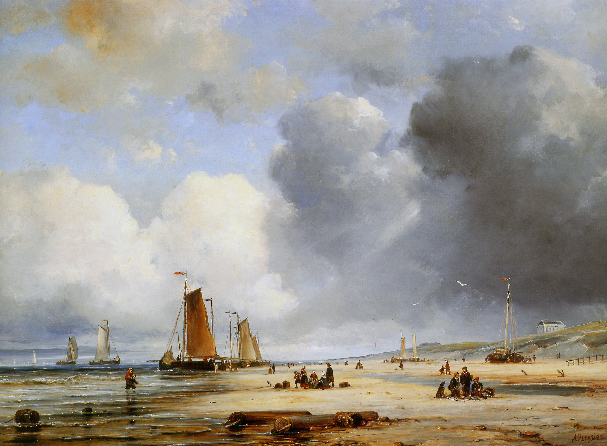 Ary Pleysier (1809-1879) - Beach View With Boats