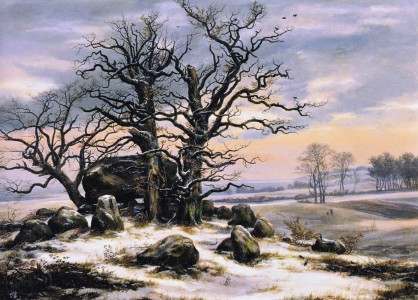 Johan Christian Dahl - Megalith Grave in Winter