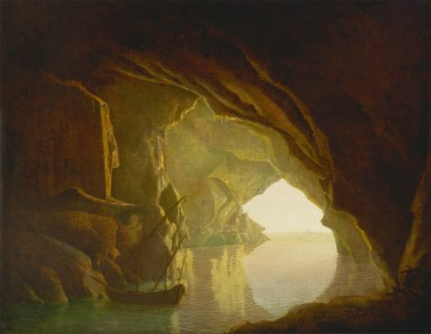 Joseph Wright of Derby - A Grotto in the Gulf of Salerno, Sunset - Google Art Project