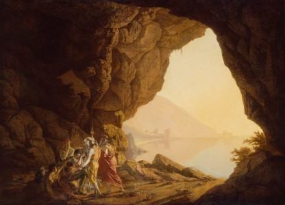 Joseph Wright of Derby - Grotto by the Seaside in the Kingdom of Naples with Banditti, Sunset - Google Art Project