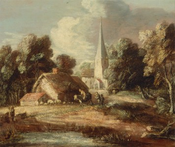 Thomas Gainsborough - Landscape with cottage and church - Google Art Project