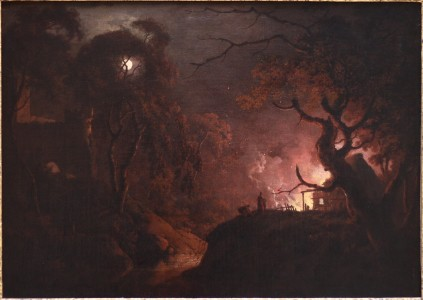 Wright of Derby, Cottage on Fire at Night