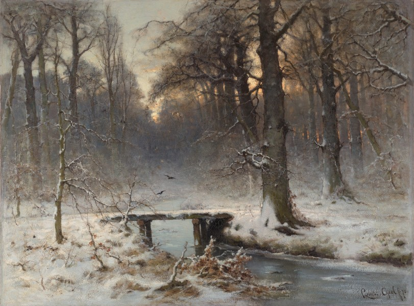 A January evening in the Haagse Bos, by Louis Apol (1850–1936)