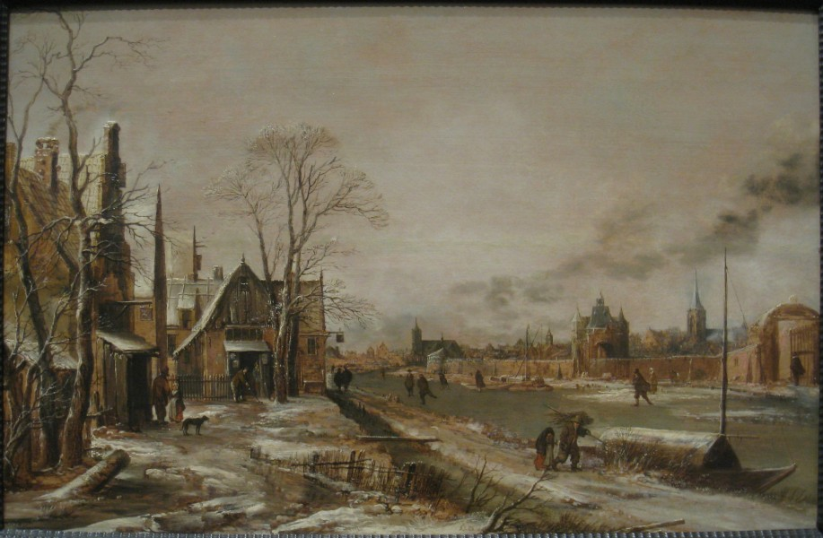 A Village Scene in Winter with a Frozen River, probably late 1640s, by Aert van der Neer (1603-1677) - IMG 7355